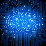 fondo del cerebro de la tarjeta de circuitos ilustración del vector