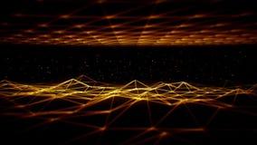 fondo del ciclo di griglia VJ di Wireframe dello spazio di fantascienza dell'oro 3D illustrazione vettoriale