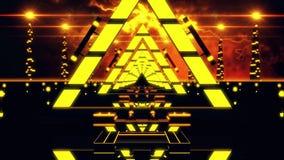 fondo del ciclo del tunnel VJ dei triangoli dell'estratto di giallo dell'oro 3D illustrazione di stock