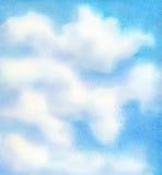 Fondo del cielo azul de la acuarela Foto de archivo libre de regalías