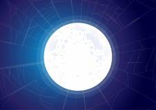 Fondo del cielo con la Luna Llena, las nubes y las estrellas Noche del claro de luna Ilustraci?n del vector libre illustration