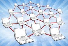 Fondo del cielo de la red de ordenadores Ilustración del Vector