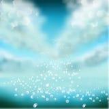 Fondo del cielo dell'acquerello con le scintille e il bokeh brillanti Illustrazione di vettore, progettazione grafica editabile p Immagine Stock