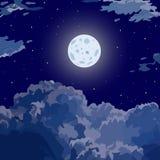 Fondo del cielo della natura di notte con la nuvola e la luna royalty illustrazione gratis