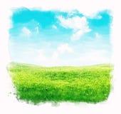 Fondo del cielo e dell'erba dell'acquerello Immagine Stock