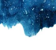 Fondo del cielo nocturno de la acuarela con las estrellas