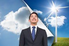 Fondo del cielo sopra il fondo della turbina Fotografia Stock Libera da Diritti