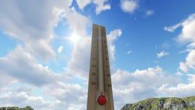 Fondo del cielo del termómetro almacen de metraje de vídeo