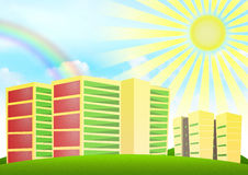 Fondo del cielo y del arco iris con los bloques residenciales Imagen de archivo libre de regalías