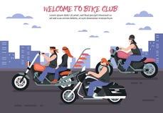 Fondo del club del motociclista Fotografie Stock