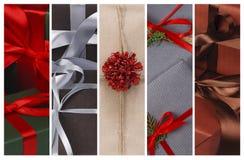 Fondo del collage dei regali di Natale e delle scatole del presente Fotografia Stock