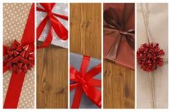 Fondo del collage dei regali di Natale e delle scatole del presente Immagine Stock