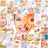 Fondo del collage di massaggio della stazione termale. fotografia stock