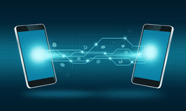 Fondo del collegamento di trasferimento di Internet di tecnologia dello Smart Phone Immagine Stock Libera da Diritti