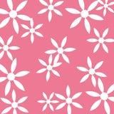 Fondo del color de rosa del modelo de flor blanca Foto de archivo