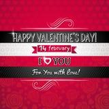Fondo del color rojo con el corazón y el deseo de la tarjeta del día de San Valentín Fotografía de archivo libre de regalías