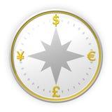 Fondo del compás del dinero en circulación Fotografía de archivo libre de regalías