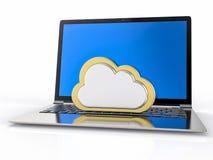 fondo del computer portatile 3D Concetto di servizio della nube Fotografie Stock Libere da Diritti