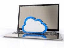 fondo del computer portatile 3D Concetto di servizio della nube Immagine Stock