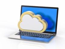 fondo del computer portatile 3D Concetto di servizio della nube Fotografia Stock
