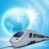 Fondo del concepto con el tren de alta velocidad, el globo y el sol ilustración del vector