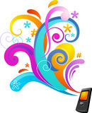 Fondo del concepto con un teléfono móvil Fotos de archivo libres de regalías