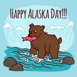 Fondo del concepto del día de Alaska, estilo dibujado mano stock de ilustración