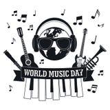 Fondo del concepto del día de la música, estilo simple stock de ilustración