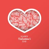 Fondo del concepto del día del ` s de la tarjeta del día de San Valentín con la papiroflexia fra en forma de corazón Imagen de archivo libre de regalías