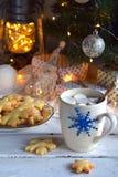 Fondo del concepto de la Navidad y de la celebración del día de fiesta del Año Nuevo Taza de cacao con la melcocha, la galleta he Fotografía de archivo libre de regalías