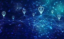 Fondo del concepto de la red del negocio, redes sociales y concepto de la interacción imagen de archivo