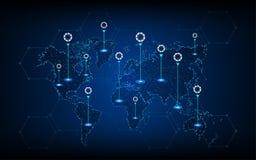 Fondo del concepto de las telecomunicaciones de la tecnología del mapa del mundo del vector ilustración del vector