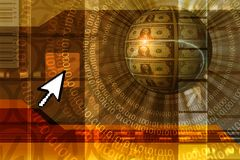 Fondo del concepto del comercio electrónico - naranja stock de ilustración