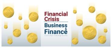 Fondo del concepto del negocio y de las finanzas con crisis financiera ilustración del vector