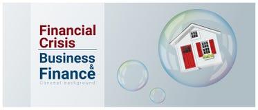 Fondo del concepto del negocio y de las finanzas con la burbuja de vivienda ilustración del vector
