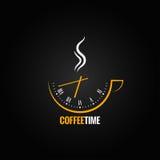 Fondo del concepto del tiempo de reloj de la taza de café Imagen de archivo libre de regalías
