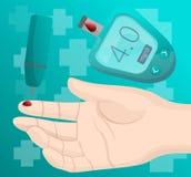 Fondo del concepto del finger de la sangre de la toma del metro de la glucosa, estilo de la historieta ilustración del vector