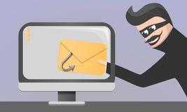 Fondo del concepto del phishing del correo electrónico, estilo de la historieta libre illustration