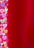 Fondo del confine del cuore di Candy di giorno di biglietti di S. Valentino immagini stock