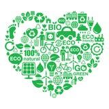 Fondo del corazón de Eco - ecología verde Imagen de archivo