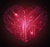 Fondo del corazón de la tarjeta de circuitos Imagen de archivo
