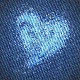 Fondo del corazón de los vaqueros de la tarjeta del día de San Valentín Imágenes de archivo libres de regalías