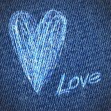 Fondo del corazón del grunge de los vaqueros de la tarjeta del día de San Valentín Imagen de archivo libre de regalías