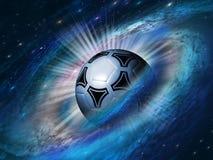 Fondo del cosmos con un balón de fútbol Fotos de archivo