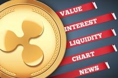 Fondo del cryptocurrency Infographic de la ondulación Imagen de archivo