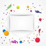 Fondo del cumpleaños con confeti colorido Imágenes de archivo libres de regalías
