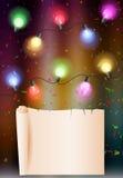 Fondo del cumpleaños con el bulbo colorido Fotos de archivo libres de regalías