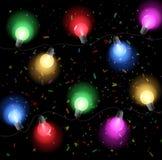 Fondo del cumpleaños con el bulbo colorido Foto de archivo