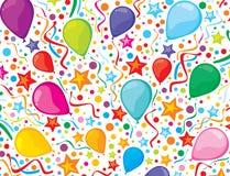 Fondo del cumpleaños con las flámulas y el confe del partido Fotos de archivo libres de regalías
