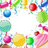 Fondo del cumpleaños con los dulces Ilustración del vector fotos de archivo libres de regalías